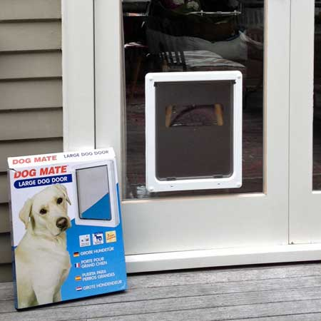 Dog Mate large dog door (white) installed in glass