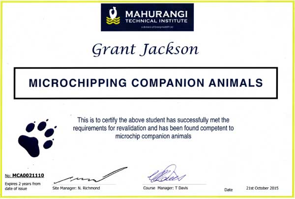 Grant Jackson microchipping certificate