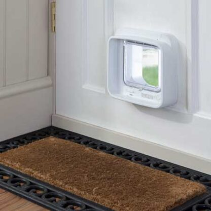 SureFlap DualScan cat door (white) installed in timber