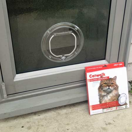 CatWalk G-CDC cat door (clear) installed in glass