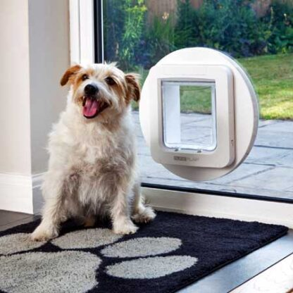 SureFlap microchip large pet door (white) installed in glass