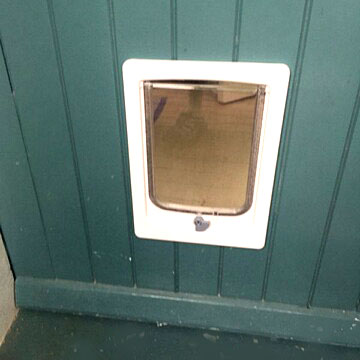 Dogwalk Small Dog Door installed in timber door